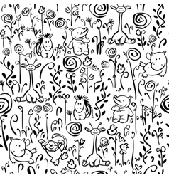 Seamless cute pattern flora and fauna vector