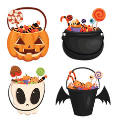 set halloween buckets different shapes full of vector image