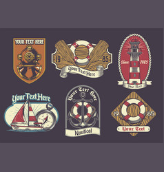 Set nautical badge vector