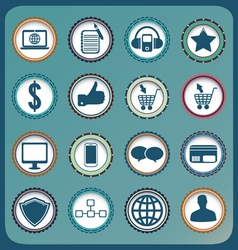 Set of vintage business and social media icons vector image