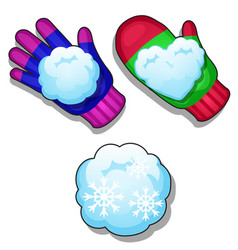 Set of winter knitted colorful gloves snowballs vector
