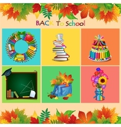 set school objects on a different backgrounds vector image