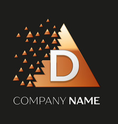 Silver letter d logo symbol in the triangle shape vector