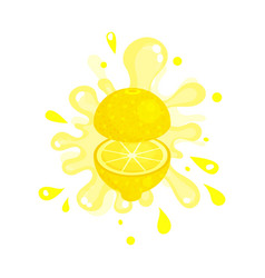 Sliced lemon juice splashing colorful fresh juicy vector