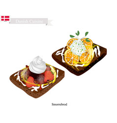 Smorrebrod with strawberry and lemon the national vector
