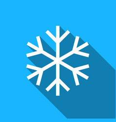 snowflake flat icon with long shadow vector image