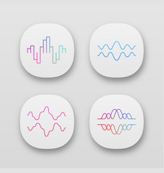 sound waves app icons set uiux user interface vector image