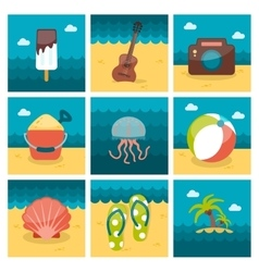 Summer flat icons set vector
