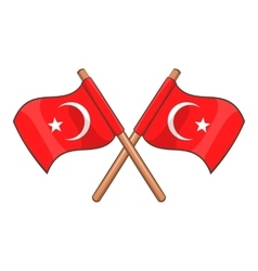 Turkey crossed flags icon cartoon style vector