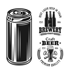 two brewery emblems badges labels or logos and vector image