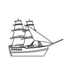 Vintage sailing ship travel adventure nautical vector