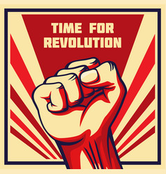 Vintage style revolution poster raised fist vector