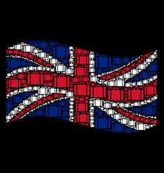 waving united kingdom flag pattern of baggage vector image