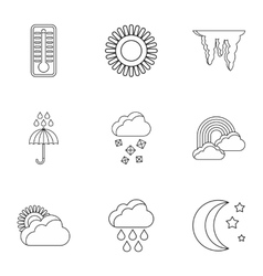 Weather outside icons set outline style vector image