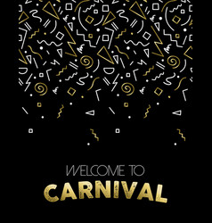 Welcome to carnival gold party template design vector