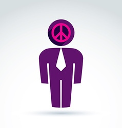 White collar office worker man icon peace sign vector
