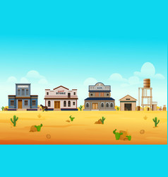 wild west town or cityscape scenery street view vector image