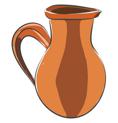 Wine jug made from clay color on white background vector