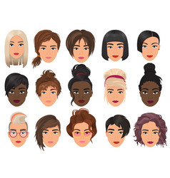 Woman realistic detailed avatar set vector