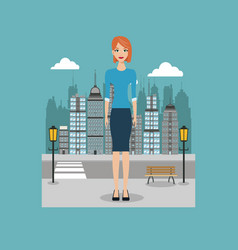Woman standing street city with brench and lamp vector