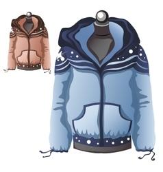 Womens blue winter warm sports jacket vector