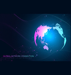 world map point with global technology networking vector image