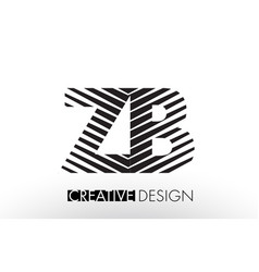 Zb z b lines letter design with creative elegant vector