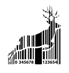 barcode deer background for christmas vector image