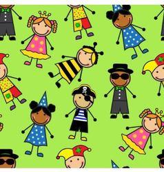 Cartoon seamless pattern with children in differen vector image vector image