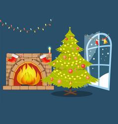 christmas tree and fireplace vector image