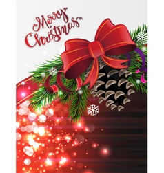 Christmas tree branches with cone vector image vector image