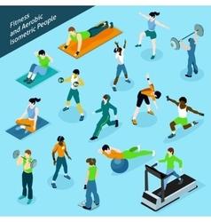 Fitness Aerobic Isometric People Icon Set vector image vector image