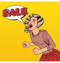 Woman Shouting Sale Big Sale Poster Pop Art vector image vector image
