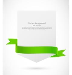 Card with green ribbon vector image vector image