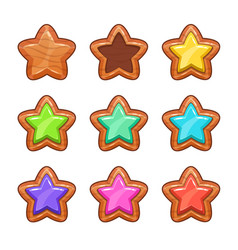 cartoon wooden stars set vector image