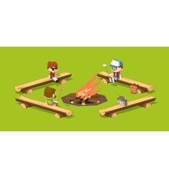 Low poly rough wooden benches around the campfire vector image vector image
