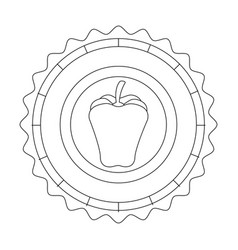 Seal stamp with pepper icon vector