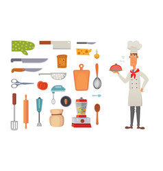 Set kitchen shelves and cooking utensils vector
