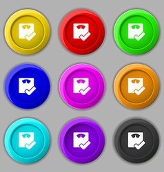 bathroom scales icon sign symbol on nine round vector image