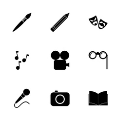 black art icon set vector image vector image