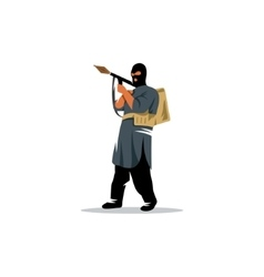East soldier with a grenade launcher in his hands vector image vector image