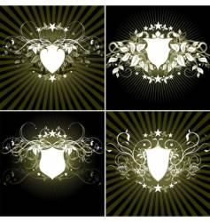 ornamental shields vector image vector image