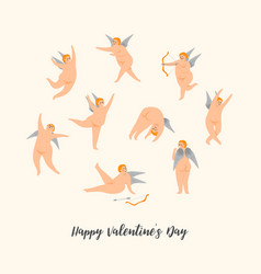 set of cute cupids happy valentine s day vector image