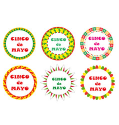 cinco de mayo set of round frames with space for vector image vector image