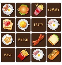 Collection of food and snack vector