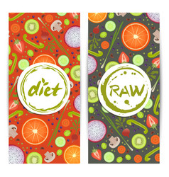 healthy diet vertical flyers set vector image vector image