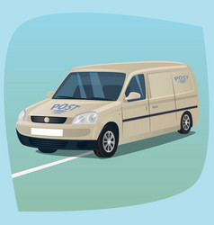 Isolated mail truck with parcels vector