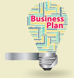 light bulb with Business plan word cloud vector image