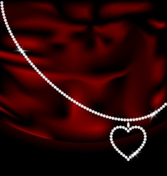 red silk and jewel heart vector image vector image