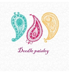 Three doodle paisley elements vector